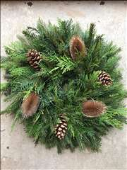 Natural Christmas door wreath with teasels